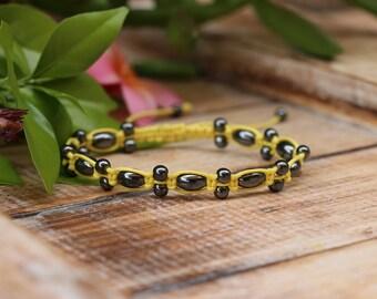 No. 56 Hematite Macrame Style Bracelet with Sliding Knot
