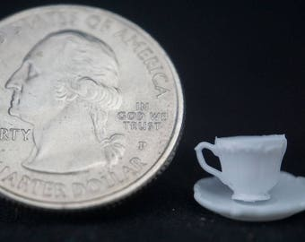 Cup and Saucer - White: Handley House, garden supplies, fairy garden, dollhouse, miniature,