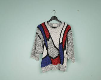 salt and pepper sweater size M abstract shapes vintage pullover batwing blue red vtg sweater long sleeves vintage colorful sweater