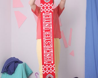 manchester united scarf, football club team scarf, pride of the north, slogan letters sport scarf muffler