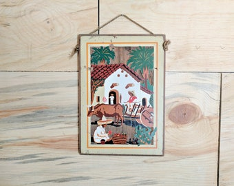 vintage hand painted mexican wooden wall hanging