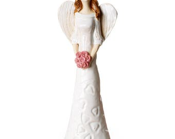 White Angel Statuette | Angel Of Harmony | Angel for Brides| Table Standing Ceramic Ornament | Quirky Handmade Figurine