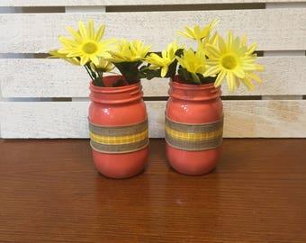 Set Of Two Pint Size Spring Mason Jars