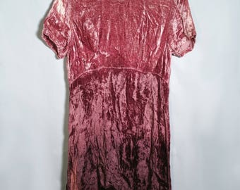 "90s Maroon Purple Ombre Velvet Short Skater Dress Sz Medium 30"" Waist 36"" Bust Jasmine 1990s Party Goth Rave Festival Bleach Grunge Babydoll"