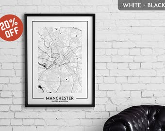 MANCHESTER map print, Manchester poster, Manchester wall art, Manchester city map, Manchester map decor, Manchester decoration