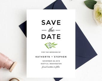 Leafy Greenery Watercolor Save The Date Template, Botanical Save The Date Card Template, Printable Save Date Card Templates Instant Download