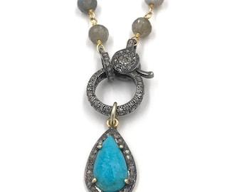 Short diamond labradorite necklace, Turquoise necklace, Pave diamond necklace, Layer necklace, Rosary chain, Blue necklace, Chain necklace