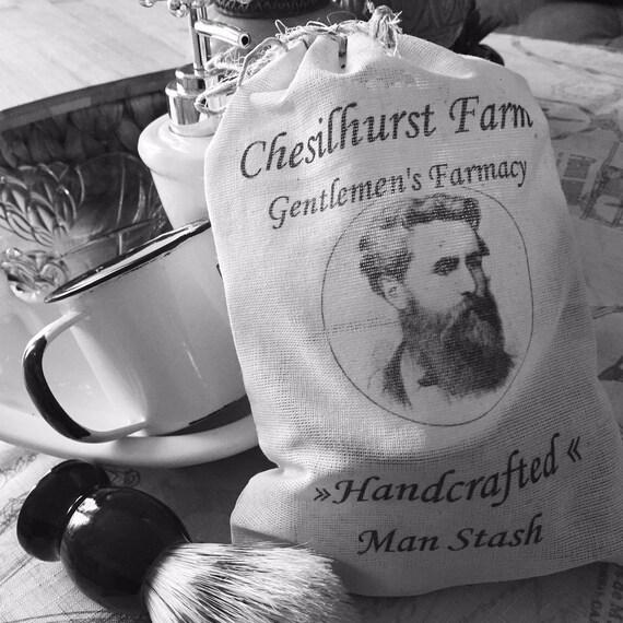 Man Stash Shave Kit -  Shave Soap -Badger Hair Shave Brush & Enamel Tin Shave Soap Cup with Shave Stash Bag - (Unscented) Chesilhurst Farm