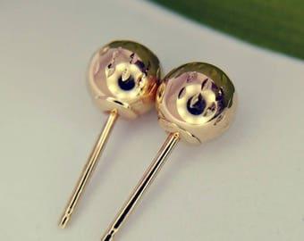 14k Gold Ball Earrings Small Vintage Earrings