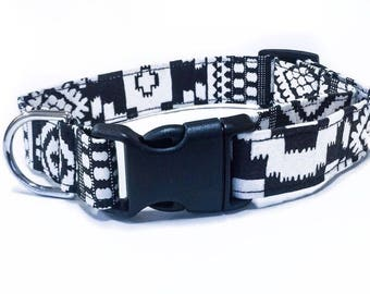 Dogcollar Black and white with black buckle