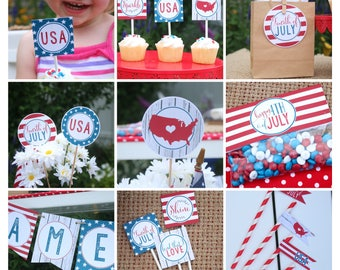 Fourth Of July Printable Party Package - 4th of July Patriotic Banner, Cupcake Toppers, Water Bottle Labels, Bag Toppers, Sign, Food Labels