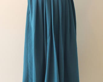 Long Pleated Dark Forest Green Skirt - Vintage Style Clothing
