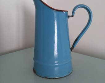 Blue enamel pitcher french vintage. Vintage blue enamel french pitcher