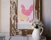 Vintage Farmhouse Applique Chicken Barnwood Framed Flour Sack Towel ~ Farm Art ~ Decor