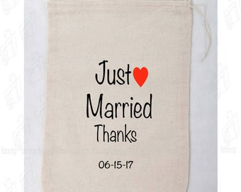 Personalized Muslin Drawstring Bags Beige Wedding Married PACKAGE X 10