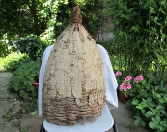 Old antique primitive hand wooven bee skep beehive for bee
