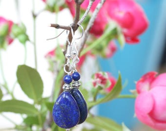 Blue Earrings, Lapis Lazuli Earrings, Lapis Teardrop Earrings, Briolette Earrings, Dangling Lapis Earrings, Drop Earrings, Gemstone Earrings