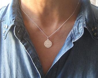 Necklace fine 925/1000 silver openwork rose pendant