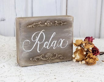 Relax sign Bathroom decor Small reclaimed wood sign Meditation decor Wooden Spa sign Shabby chic decor Vintage style sign Yoga relax sign
