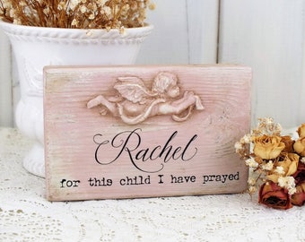 1 Samuel 1:27 For this child I have prayed Personalized baby girl name sign Small reclaimed wood block Christening gifts Custom name decor