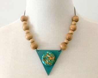 Hanmade bib necklace wooden necklace turquoise necklace geometric necklace hand painted necklace unique necklace boho necklace bohemian