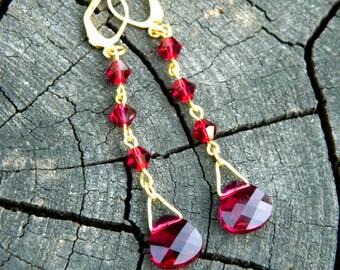 Red earring Beauty gift Garnet earrings Dangle earrings Clothing gift Birthday gift Fairytale gift Drop earring Christmas gift Outdoors gift