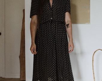 80's Polka Dot - High Waist Dress