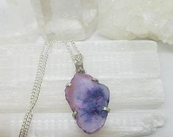 Purple Agate Crystal Necklace, Agate Pendant, Unique Jewelry, Raw Stone Necklace