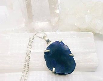 Agate Necklace Agate Crystal Agate Pendant Silver Plated Pendant Agate Crystal Necklace Purple Agate