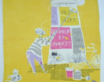 Hankie Good luck - viel Glück - Bonheur - yellow Fifties 50s Vintage