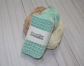 Crochet Dish Cloth, Crochet Wash Cloth, 3-pack