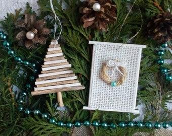 Rustic Christmas Decorations, Rustic Christmas Tree Ornaments, Christmas Decoration, Wood, Burlap, Farmhouse Decor