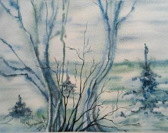 Original Art Painting,Watercolor Landscape,Woodland Painting,Forest,Forest painting,Gray fog,Watercolor tree,Misty landscape,Home Decor,gift