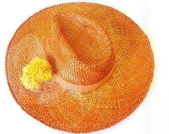 Straw summer hat fashionable woman large brim orange hat party wedding beach fedora stylish woman romantic modern outfit millinery  hat