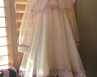 Vintage 1950 Sheer Victorian Style Dress