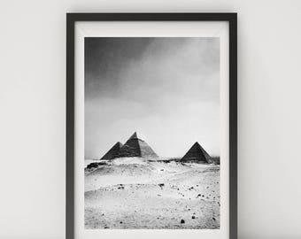 Black and White Photo, Black and White Wall Art, Printable, Printable Art, Explore Print, Instant Digital Download, Pyramids, Giza, Egypt