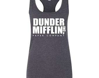 Dunder Mifflin Tank Top. Dunder Mifflin T-Shirt - Women's racerback Tank Top. The Office Shirt. Paper Company Shirt. The Office Tv Show.