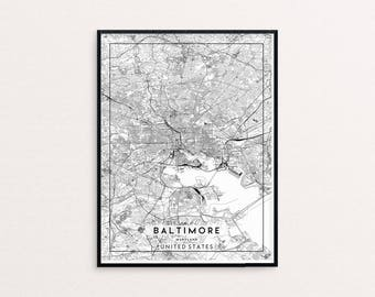 Baltimore City Map Print, Clean Contemporary poster fit for Ikea frame 24x34 inch, gift art for him her, Anniversary personalized travel