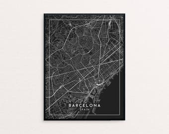 Barcelona Black City Map Print, Clean Contemporary poster fit for Ikea frame 24x34 inch, gift art him her, Anniversary personalized travel