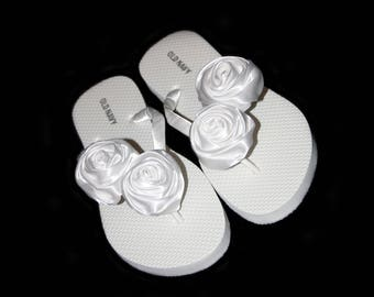 Bridal Flip Flops, Beach Wedding, Bridal Flip Flops, Bridesmaid, Wedding Flip Flops, Custom Color Flip Flops, Bridal Shoes, Bride Gift, Rose