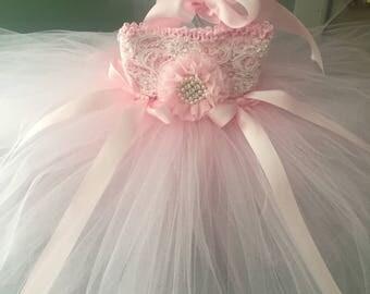 Baby's First Birthday Dress Tutu Dress Pink Tutu Dress & Matching Headband Shabby Chic