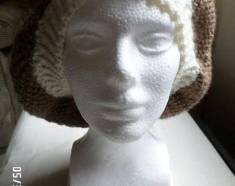 Slouchy Hat, Taupe/Ivory