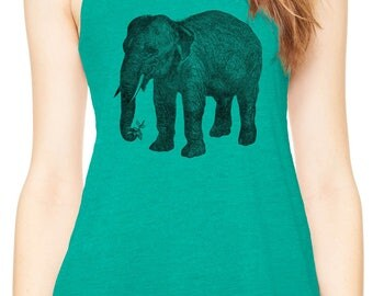 Austin Ink Apparel Wise Elephant and Flower Womens Flowy Racerback Tank Top