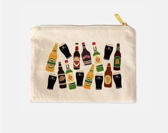 Funny Cosmetic Bag, Travel Makeup Bag, Alcohol Print Bag, Cotton Canvas Cosmetic, Tumblr Aesthetic, Lined Makeup Bag, Funny Gifts, 9.5 x 7