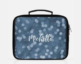 Personalized Lunch Box, Bokeh Lunch Box, Blue Lunch Bag, Cute Lunch Box, Personalized Gift, Lunch Bag Insulated, Monogram Lunch Bag