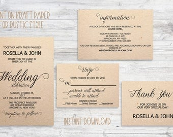 Wedding Invitation.Printable Wedding Invitation. Rustic Wedding Invitation Set.Wedding Invite Template.PDF Instant Download.NO#789987