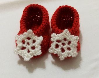 Christmas Snowflake Booties   Crochet Baby Booties   Handmade   Baby Christmas Gift   Christmas Baby Outfit