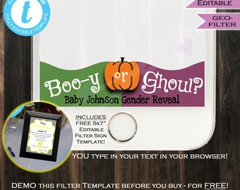 Gender Reveal Halloween Snapchat Geofilter- Baby Shower Filter- Booy or Ghoul- Gender Party Personalize Custom Digital INSTANT Self EDITABLE