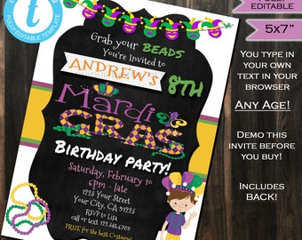 Mardis Gras Birthday Party Invitation Boy Any Age - Kids Party Invite Costume Party Masks Beads Printable Custom INSTANT Self EDITABLE 5x7