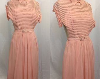 1950s Pink Sheer Stripe Dress
